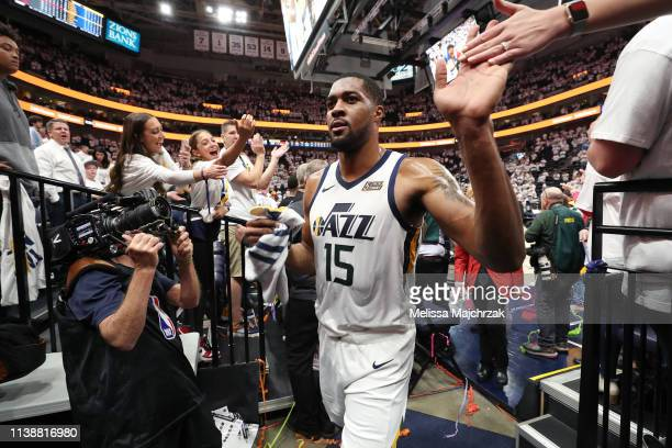Derrick Favors of the Utah Jazz leaves the court after Game Four of Round One against the Houston Rockets during the 2019 NBA Playoffs on April 22...