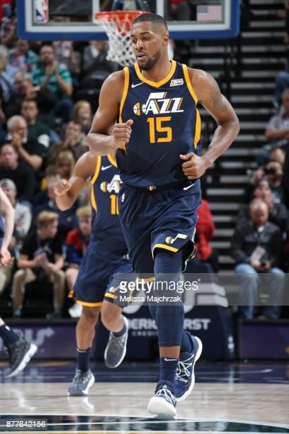 Derrick Favors of the Utah Jazz looks on during game against the Chicago Bulls on November 22 2017 at Vivint Smart Home Arena in Salt Lake City Utah...