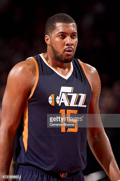 Derrick Favors of the Utah Jazz looks on during the game against the Portland Trail Blazers on October 3 2016 at the Moda Center Arena in Portland...