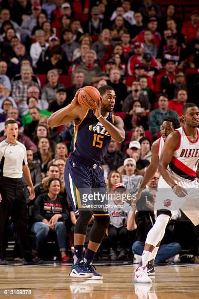 Derrick Favors of the Utah Jazz looks to pass against the Portland Trail Blazers on October 3 2016 at the Moda Center Arena in Portland Oregon NOTE...