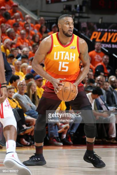 Derrick Favors of the Utah Jazz looks to pass the ball during the game against the Houston Rockets during Game Three of the Western Conference...