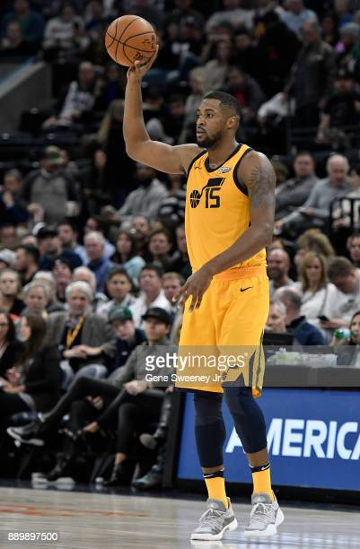 Derrick Favors of the Utah Jazz looks to pass the ball during their game against the Houston Rockets at Vivint Smart Home Arena on December 7 2017 in...
