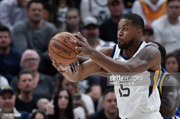 Derrick Favors of the Utah Jazz looks to pass the ball in a NBA game against the Golden State Warriors at Vivint Smart Home Arena on October 19 2018...