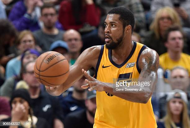 Derrick Favors of the Utah Jazz passes the ball during a game against the Indiana Pacers at Vivint Smart Home Arena on January 15 2018 in Salt Lake...