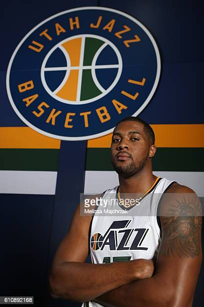 Derrick Favors of the Utah Jazz poses for a photo during the 20162017 Utah Jazz media day at Zions Bank Basketball Center on September 26 2016 in...