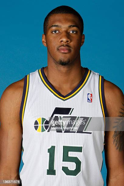 Derrick Favors of the Utah Jazz poses for a portrait during the Utah Jazz Media Day at Zions Basketball Center on December 09 2011 in Salt Lake City...