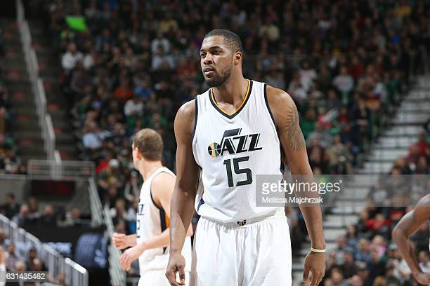 Derrick Favors of the Utah Jazz reacts to a play against the Cleveland Cavaliers during the game on January 10 2017 at vivintSmartHome Arena in Salt...