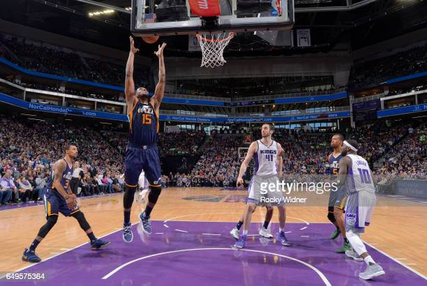Derrick Favors of the Utah Jazz rebounds against the Sacramento Kings on March 5 2017 at Golden 1 Center in Sacramento California NOTE TO USER User...