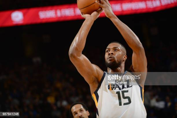 Derrick Favors of the Utah Jazz shoots a free throw during the game against the Golden State Warriors on March 25 2018 at ORACLE Arena in Oakland...