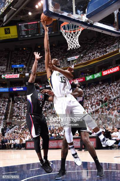 Derrick Favors of the Utah Jazz shoots a lay up during the game against the LA Clippers in Game Four during the Western Conference Quarterfinals of...