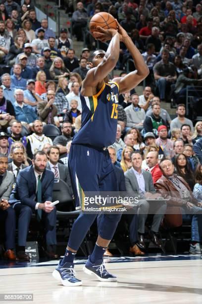 Derrick Favors of the Utah Jazz shoots the ball against the Dallas Mavericks on October 30 2017 at Vivint Smart Home Arena in Salt Lake City Utah...