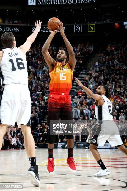 Derrick Favors of the Utah Jazz shoots the ball against the San Antonio Spurs on February 9 2019 at Vivint Smart Home Arena in Salt Lake City Utah...
