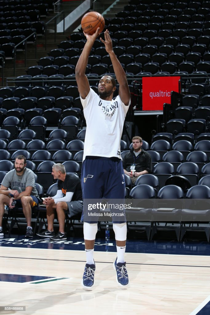 Derrick Favors #15 of the Utah Jazz warms up before the game against the Phoenix Suns on October 6, 2017 at vivint.SmartHome Arena in Salt Lake City, Utah.