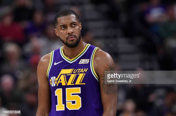 Derrick Favors of the Utah Jazz watches a replay against the Dallas Mavericks in a NBA game at Vivint Smart Home Arena on November 7 2018 in Salt...
