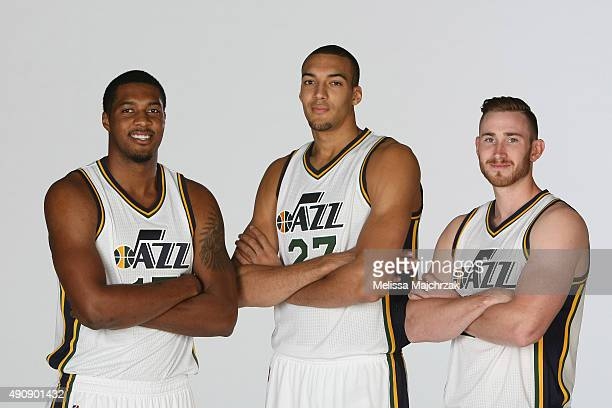 Derrick Favors Rudy Gobert and Gordon Hayward of the Utah Jazz pose for a photo during Media Day at Zions Basketball Center on September 28 2015 in...