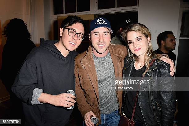 Derrick Gidden Brad Neumann and Alexis Alagem attend the Austyn Weiner Exhibition Opening at The Lodge on January 28 2017 in Los Angeles California