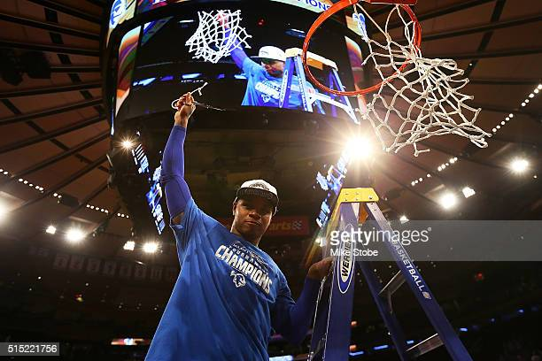 Derrick Gordon of the Seton Hall Pirates celebrates after defeating the Villanova Wildcats to win the Big East Basketball Tournament Championship at...