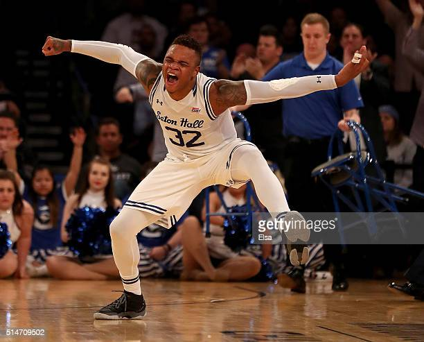 Derrick Gordon of the Seton Hall Pirates celebrates his three point shot in the second half against the Creighton Bluejays during the quarterfinals...