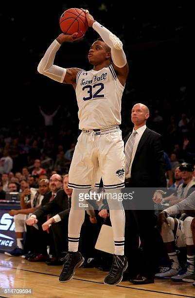 Derrick Gordon of the Seton Hall Pirates shoots a three point shot late in the second half against the Creighton Bluejays during the quarterfinals of...