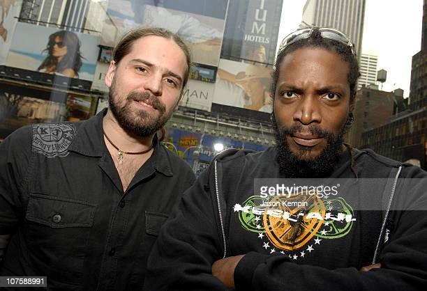 Derrick Green and Andreas Kisser Of Sepultura during Derrick Green And Andreas Kisser Of Sepultura Visit MTV's 'Headbangers Ball ' May 10 2006 at MTV...