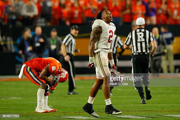 Derrick Henry of the Alabama Crimson Tide celebrates after defeating the Clemson Tigers in the 2016 College Football Playoff National Championship...