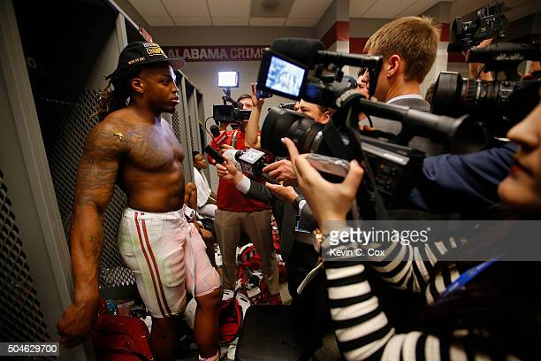 Derrick Henry of the Alabama Crimson Tide talks to the media in the locker room after defeating the Clemson Tigers in the 2016 College Football...