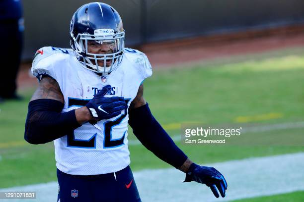 Derrick Henry of the Tennessee Titans celebrates after scoring a touchdown against the Jacksonville Jaguars in the second quarrter at TIAA Bank Field...