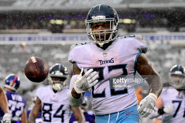 Derrick Henry of the Tennessee Titans celebrates his first half touchdown against the New York Giants at MetLife Stadium on December 16 2018 in East...