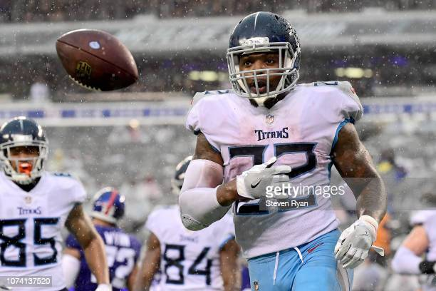 Derrick Henry of the Tennessee Titans celebrates his second half touchdown against the New York Giants at MetLife Stadium on December 16 2018 in East...