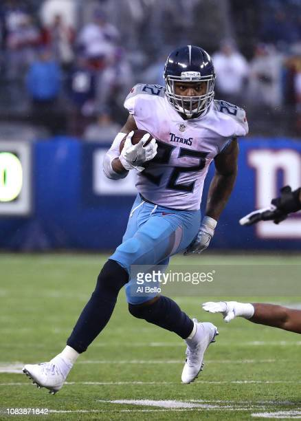 Derrick Henry of the Tennessee Titans in action against the New York Giants during their game at MetLife Stadium on December 16 2018 in East...