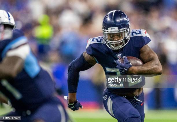 Derrick Henry of the Tennessee Titans runs for a touchdown in the third quarter of the game against the Indianapolis Colts at Lucas Oil Stadium on...