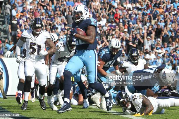 Derrick Henry of the Tennessee Titans runs into the endzone for a touchdown against the Baltimore Ravens during the first half at Nissan Stadium on...