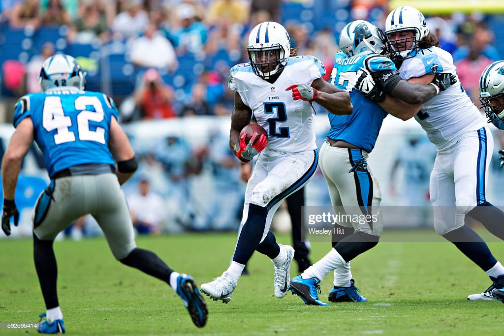 Derrick Henry #2 of the Tennessee Titans runs the ball during a preseason game against the Carolina Panthers at Nissan Stadium on August 20, 2016 in Nashville, Tennessee.
