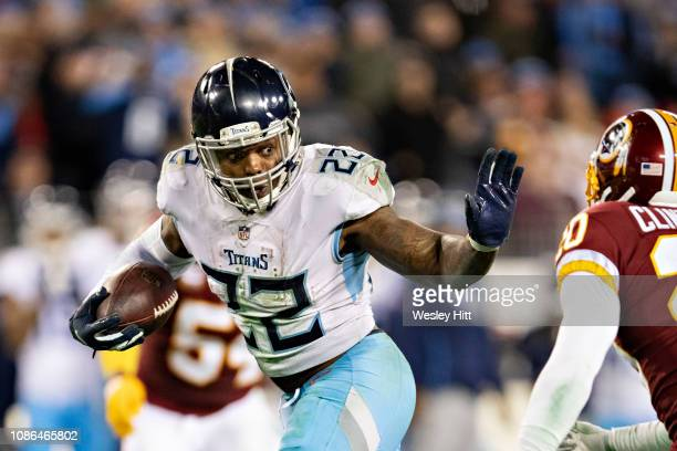 Derrick Henry of the Tennessee Titans runs the ball up the middle during a game against the Washington Redskins at Nissan Stadium on December 22 2018...