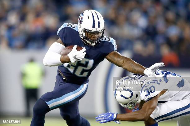 Derrick Henry of the Tennessee Titans runs with the ball against the Indianapolis Colts at Nissan Stadium on October 16 2017 in Nashville Tennessee
