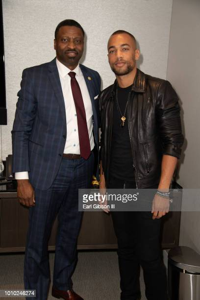 Derrick Johnson and Kendrick Sampson attend ICON MANN And CAA In Conversation With Derrick Johnson at CAA on August 2 2018 in Los Angeles California