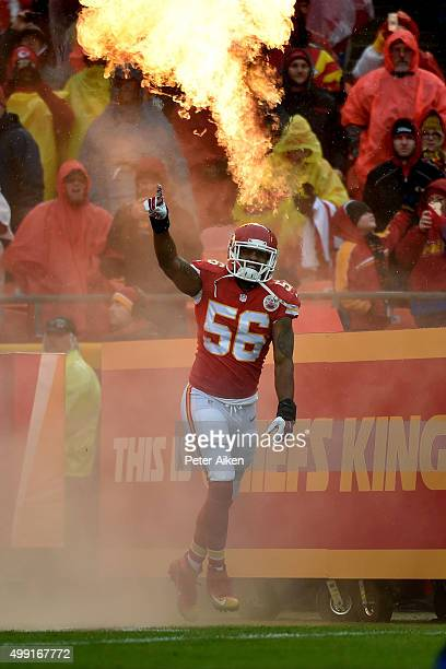 Derrick Johnson of the Kansas City Chiefs enters the field at Arrowhead Stadium during player introductions against the Buffalo Bills on November 29...