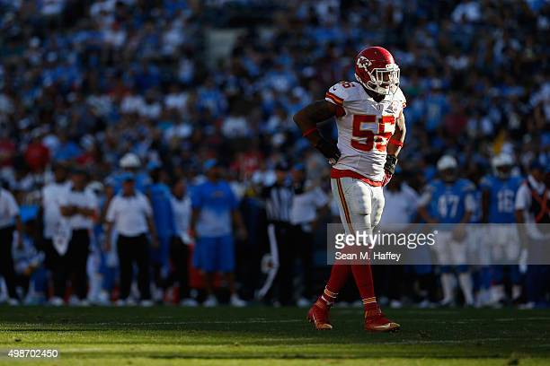 Derrick Johnson of the Kansas City Chiefs walks on the field during the second half of a game agains the San Diego Chargers at Qualcomm Stadium on...