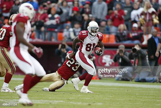 Derrick Johnson of the San Francisco 49ers makes a tackle during a game against the Arizona Cardinals on December 4 2005 at Monster park in San...