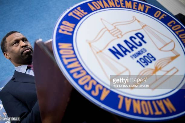 Derrick Johnson President and CEO of the NAACP pauses while speaking during a press conference announcing a lawsuit by the NAACP and Prince George's...