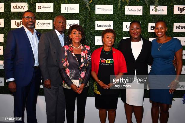 Derrick Johnson Sydney Williams Congresswoman Maxine Waters Congresswoman Barbara Lee Andrea Donker and Jeanine Liburd appear at IMPACT Strategies...
