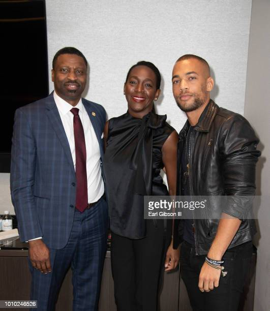 Derrick Johnson Tamara Houston and Kendrick Sampson attend ICON MANN and CAA In Conversation With Derrick Johnson at CAA on August 2 2018 in Los...