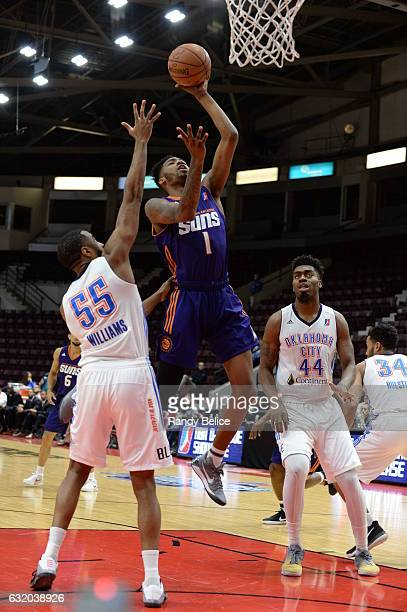 Derrick Jones Jr #1 of the Northern Arizona Suns goes up for a shot during a game against the Oklahoma City Blue as part of 2017 NBA DLeague Showcase...