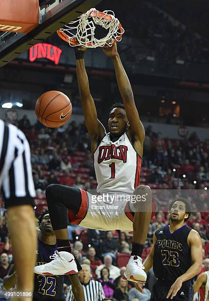 Derrick Jones Jr #1 of the UNLV Rebels dunks against the Prairie View AM Panthers during their game at the Thomas Mack Center on November 28 2015 in...