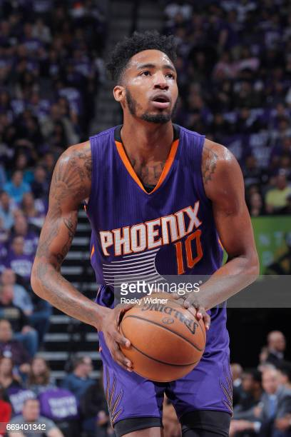 Derrick Jones Jr #10 of the Phoenix Suns attempts a freethrow shot against the Sacramento Kings on April 11 2017 at Golden 1 Center in Sacramento...