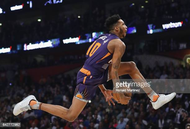 Derrick Jones Jr #10 of the Phoenix Suns competes in the 2017 Verizon Slam Dunk Contest at Smoothie King Center on February 18 2017 in New Orleans...