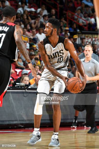 Derrick Jones Jr #10 of the Phoenix Suns handles the ball against the Houston Rockets on July 10 2017 at the Thomas Mack Center in Las Vegas Nevada...