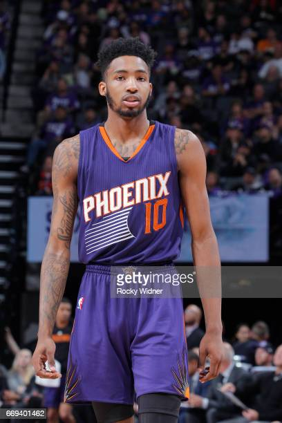 Derrick Jones Jr #10 of the Phoenix Suns looks on during the game against the Sacramento Kings on April 11 2017 at Golden 1 Center in Sacramento...