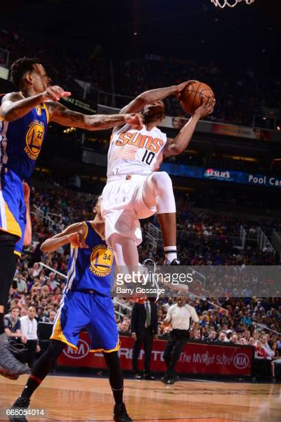 Derrick Jones Jr #10 of the Phoenix Suns shoots the ball against the Golden State Warriors on April 5 2017 at Talking Stick Resort Arena in Phoenix...