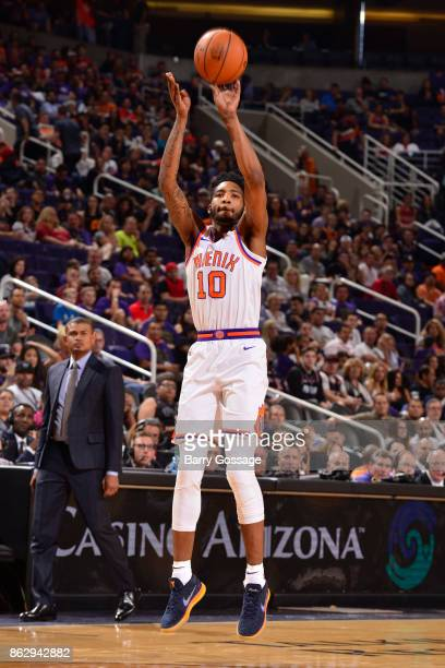 Derrick Jones Jr #10 of the Phoenix Suns shoots the ball against the Portland Trail Blazers on October 18 2017 at Talking Stick Resort Arena in...